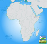 Übersichtskarte von Dschibuti mit Landesflagge