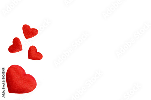 White background with red hearts satin_IV