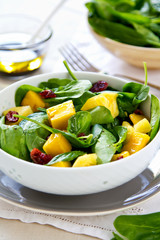 Mango and Pineapple with Spinach salad