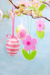 easter decoration with hanging eggs and felt flowers_