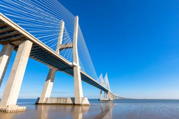 Modern bridge fragment: Vasco da Gama Bridge, Lisbon