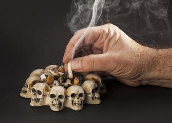 hand with smoke cigarette