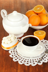 Beautiful white dinner service with oranges