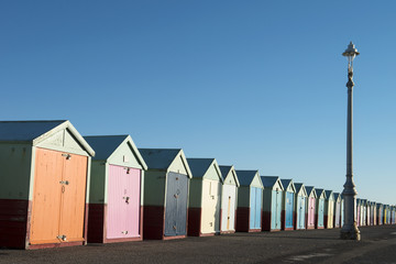 Colorful Beach Huts at Hove, East Sussex, UK.