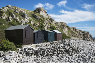Beach Huts at Church Ope Cove, Portland, Dorset, UK.