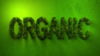 Animated grass in the shape of the word organic.