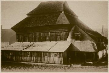 Retro photo of synagogue  in Chodorow, Ukraine