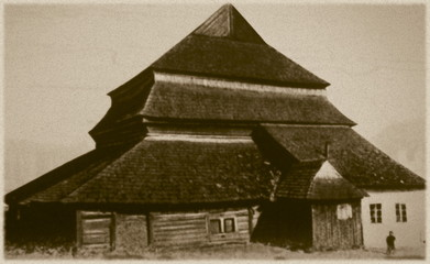 Retro photo of synagogue  in Gwozdiec, Western Ukraine