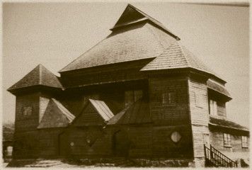 Retro photo of synagogue  in Peski, Belarus