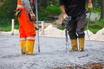 building site compacting concrete