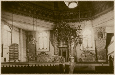 Retro interior of  wooden synagogue  in Grodno, Belarus