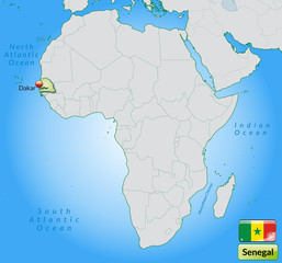 Übersichtskarte von Senegal mit Landesflagge