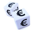 Two white dice with Euro symbol