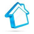 3D House Icon White/Light Blue