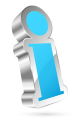3D Information Icon Light Blue/Silver