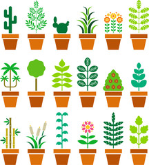 Set of vectorized plants in a pot
