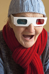 Elderly woman with 3d glasses