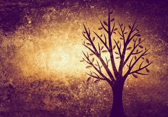 tree on textured background