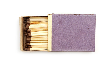 Open matchbox isolated on white background