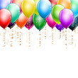 colorful balloons as top border on white