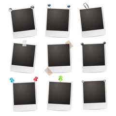 photo frames with pushpins,paperclips and tape