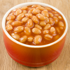 Baked Beans - Bowl of baked beans in tomato sauce.