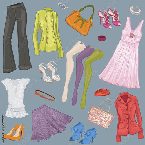 Background with various female clothes and accessories