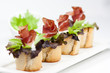 crostini with salad and ham