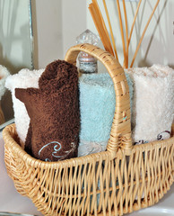 Baskets of washcloths