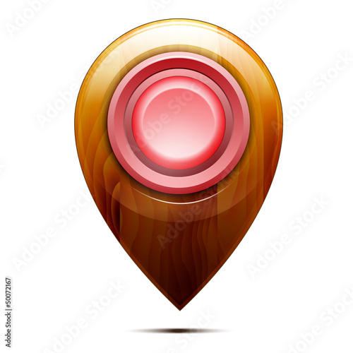 Wooden map pointer ,  red button, isolated on a white background