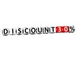3D Discount 30% Button Click Here Block Text