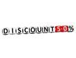 3D Discount 50% Button Click Here Block Text