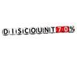 3D Discount 70% Button Click Here Block Text