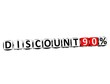 3D Discount 90% Button Click Here Block Text