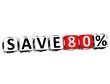 3D Save 80%  Button Click Here Block Text