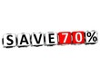 3D Save 70% Button Click Here Block Text