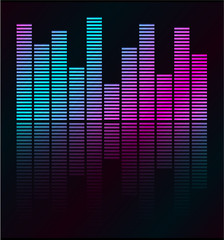 Audio level  LED from Music Studio with reflection Vector.