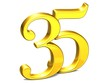 3D Gold Thirty-Five on white background