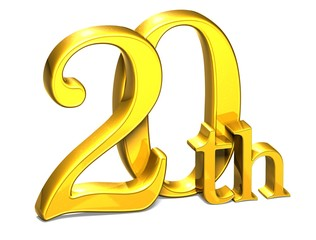 3D Gold Twentieth on white background
