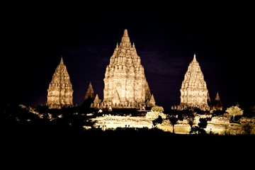 Prambanan temple at the night near to Yogyakarta , Java, Indones