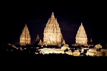 Prambanan temple at the night near to Yogyakarta , Java, Indones