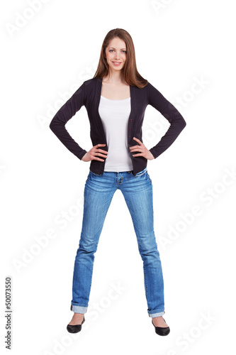 Elegant slim girl in blue jeans