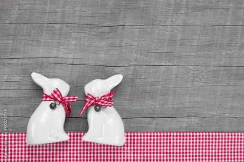 Zwei Osterhasen - Hasen Paar als Osterkarte
