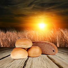 Bread on the wooden background
