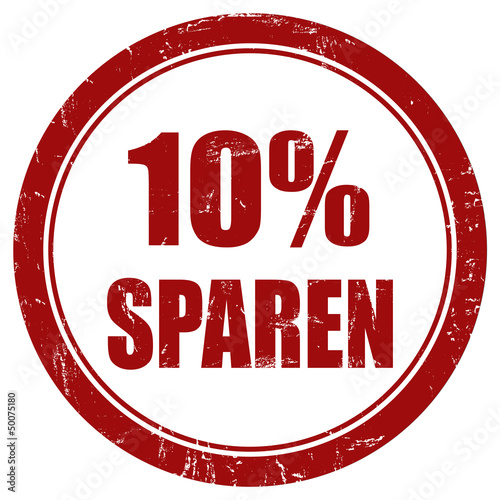 Grunge Stempel rot rund 10% SPAREN
