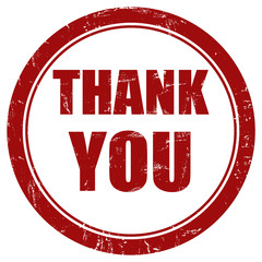 Grunge Stempel rot rund THANK YOU
