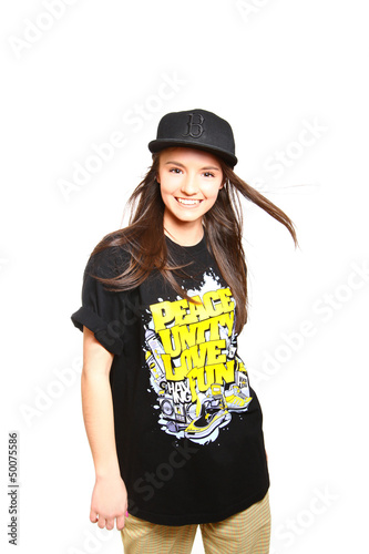 Happy break dance girl on white background