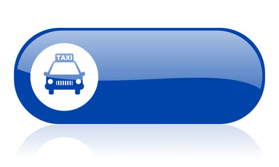 taxi blue web glossy icon