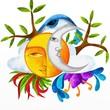 sole e luna astratti