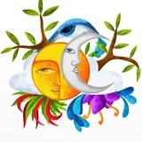 Fototapety sole e luna astratti